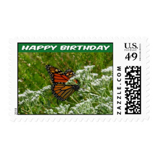 Postage Stamp Happy Birthday Butterfly