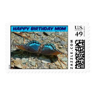 Postage Stamp Happy Birthday Butterfly Blue Mom
