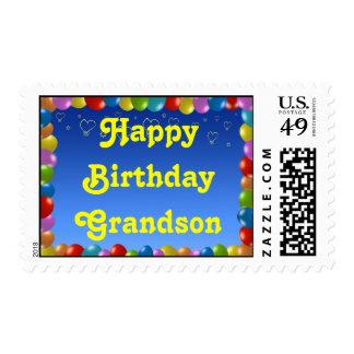 Postage Stamp Happy Birthday Grandson Balloon Fram