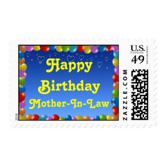 Postage Stamp Happy Birthday Mother-In-Law Balloon
