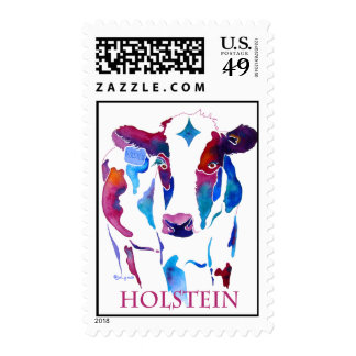 Postage Stamp Holstein Cow in Purple & Blues