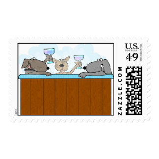 Postage Stamp Hot Tub Dogs