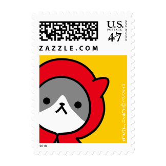 Postage Stamp - Kitty - Yellow