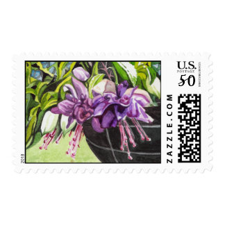 "Postage Stamp - ""Lisa"" - fuchsia watercolor"