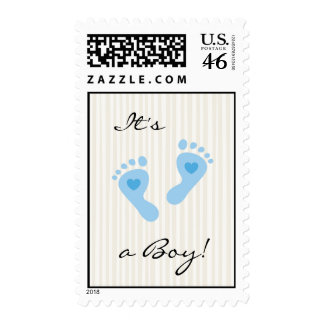 Postage stamp New baby boy arrival announcement