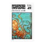 Postage Stamp:Original Octopus Silk Painting
