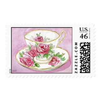 Postage Stamp - Pink Floral Rose Teacup & Saucer