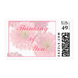Postage Stamp -Pink Zinnia; Thinking of You Flower