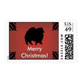 Postage Stamp - Pomeranian Christmas