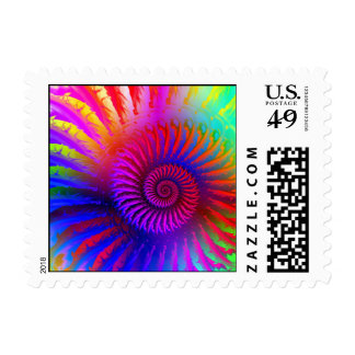 Postage Stamp - Psychedelic Fractal pink red purpl