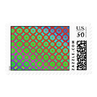 Postage Stamp - Rainbow Mandala Fractal Pattern