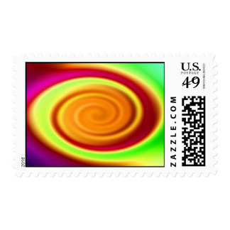 Postage Stamp - Rainbow Swirl Abstract Pattern