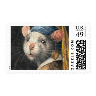 """Postage Stamp """"Rat with a Yogie Earring"""" painting"""