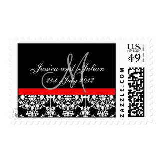 Postage Stamp Red and Black Save The Date Damask