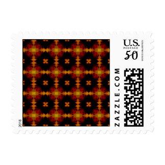 Postage Stamp - Retro Fractal Pattern red black