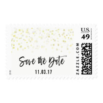 Postage Stamp Save the Date Faux Gold Confetti