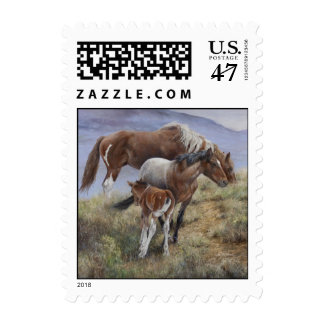 Postage Stamp sheet .45 Mustang Horse Art