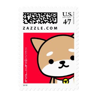 Postage Stamp - Shiba - Red