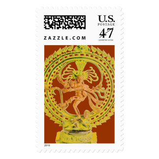 POSTAGE STAMP SHIVA NATARAJ IN GOLD AND ROYAL RED