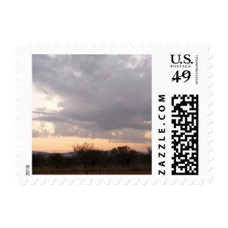 postage stamp sunset