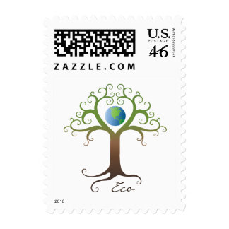 Postage stamp: Swirly heart tree with planet earth