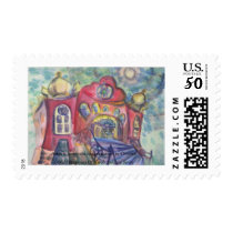 Postage Stamp Synagogue Artwork Hanukkah