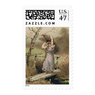 Postage Stamp w Girl Working - 1st Class Stamps