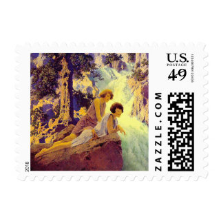 Postage Stamp:  Waterfall - by Maxfield Parrish