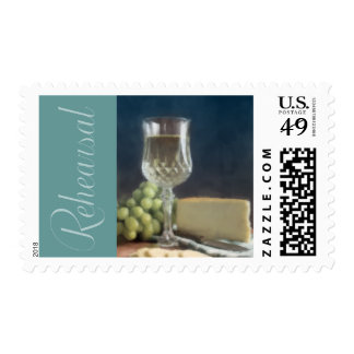 Postage Stamp White Wine Grapes Cheese