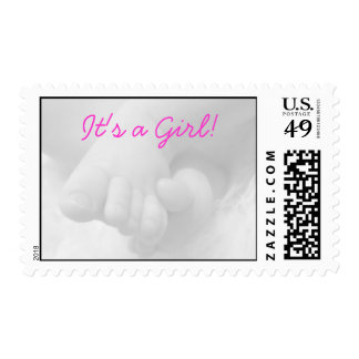 Postage Stamp with Baby Feet- It's a Girl!