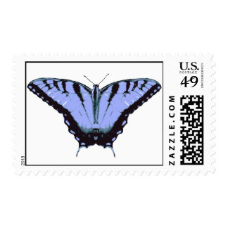 Postage Stamp with Blue Butterfly Illustration
