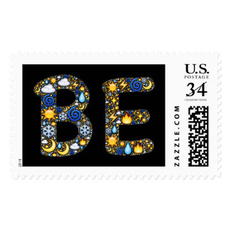 Postage stamp with Emoji-art reminder to simply BE