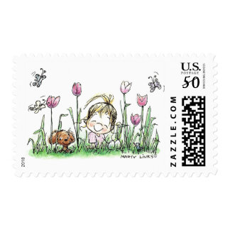 Postage Stamp With Girl and Puppy in Garden
