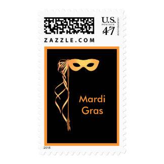 Postage Stamp ~ Yellow Ribboned Mardi Gras Mask