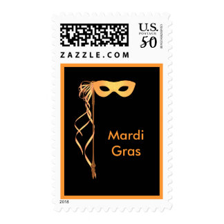 Postage Stamp ~ Yellow Ribboned Mardi Gras Mask