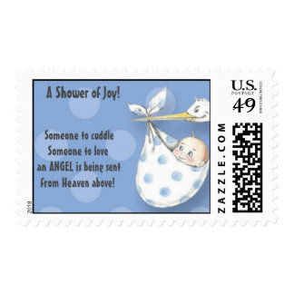 Postage stamps Baby shower blue stork and baby