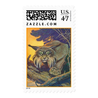 POSTAGE STAMPS BOBCAT IN A TREE WILDCAT CATS CAT