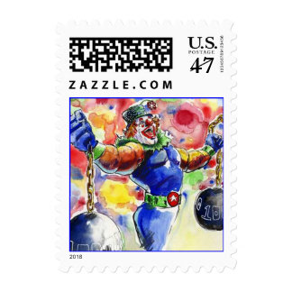 POSTAGE STAMPS COLORFUL WEIGHTLIFTING CLOWN LIFTS