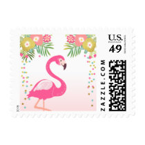 Postage Stamps Flamingo Pink Gold Tropical Luau