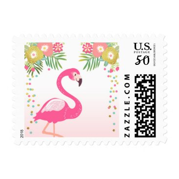 Toddler & Baby themed Postage Stamps Flamingo Pink Gold Tropical Luau