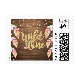 Postage Stamps Flamingo Pink Gold Wild one