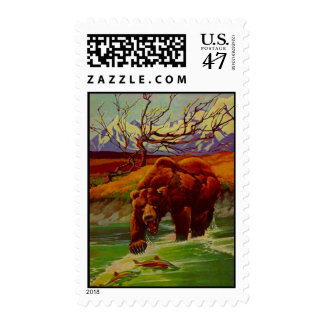 POSTAGE STAMPS Grizzly Bear Busy Stream Fishing