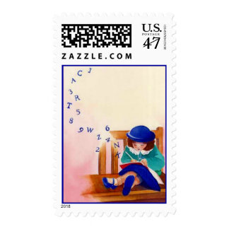 POSTAGE STAMPS HOMEWORK STUDENT STUDYING ALPHABET
