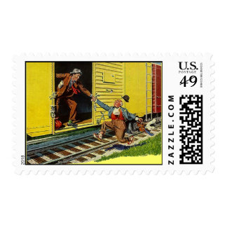 POSTAGE STAMPS Hopping The Boxcar jumping Train