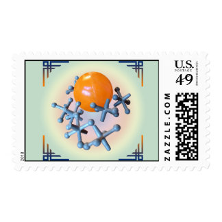 Postage Stamps Jacks and Ball Toy Orange Navy