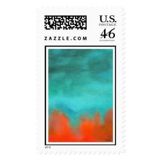 Postage Stamps Large Fire Down Below Painting stamp