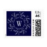 Postage Stamps Navy Blue Wedding Love Monogram W