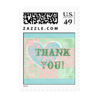 Postage Stamps Pastel Grunge Thank You