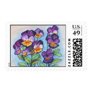 Postage Stamps purple pansies