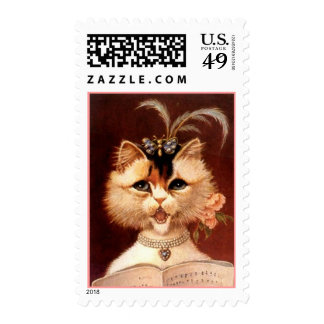 POSTAGE STAMPS REFINED VICTORIAN CAT w/ JEWELRY
